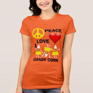 ハロウィンの平和愛およびキャンデートウモロコシ Tシャツ