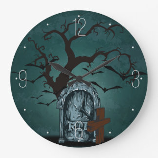 ハロウィンの幸せなたたりの重要な裂け目の死んだ木、こうもり ラージ壁時計