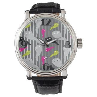 ハロウィンの幽霊および小悪魔のノベルティの腕時計 腕時計