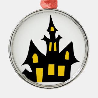 ハロウィンの幽霊のよく出るな家のおもしろい シルバーカラー丸型オーナメント