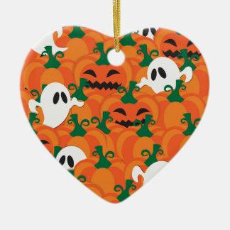 ハロウィンの幽霊の幽霊のよく出るなカボチャパッチ セラミックオーナメント