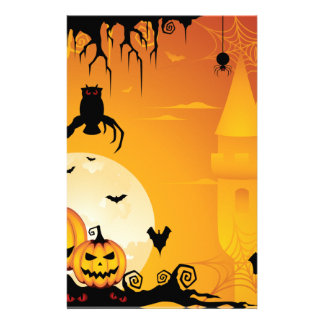 ハロウィンの恐いカボチャおよび満月 便箋