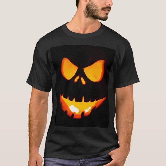 ハロウィンの恐いカボチャ顔 Tシャツ