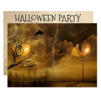 ハロウィンの恐いキャッツ・アイのパーティの招待状 カード