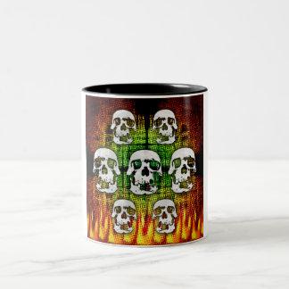 ハロウィンの恐いスカル ツートーンマグカップ