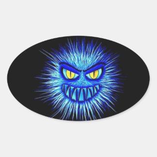 ハロウィンの恐い血だらけの恐ろしい絵 楕円形シール