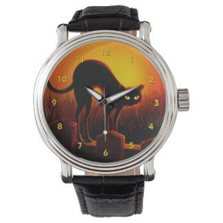 ハロウィンの恐い黒猫の白熱[赤熱]光を放つな目の腕時計 腕時計