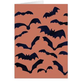 ハロウィンの恐く黒いこうもりのオレンジのブランクNotecard カード