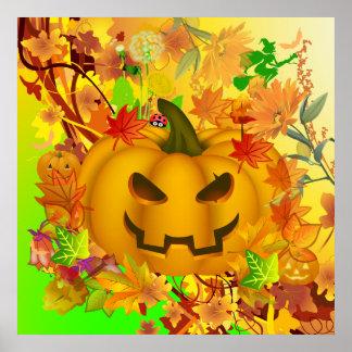 ハロウィンの抽象的なカボチャ ポスター