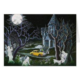 ハロウィンの挨拶、カード、幽霊、frameable天使 グリーティングカード