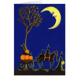 ハロウィンの挨拶、カード、魔法使い、月、カボチャ カード