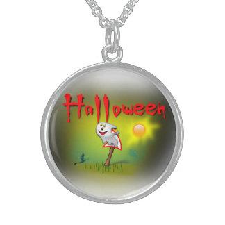 ハロウィンの日光の幽霊- スターリングシルバーネックレス