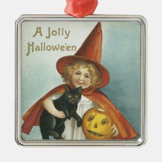 ハロウィンの旧式のすてきで小さい魔法使い メタルオーナメント