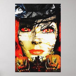 ハロウィンの暗い女性 ポスター