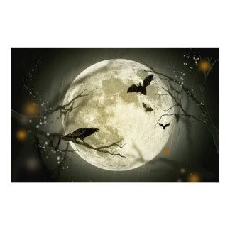 ハロウィンの月の気味悪いカラス 便箋