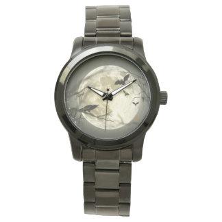 ハロウィンの月の気味悪いカラス 腕時計