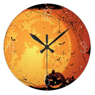 ハロウィンの月、蜘蛛の巣、こうもり、カボチャ ラージ壁時計
