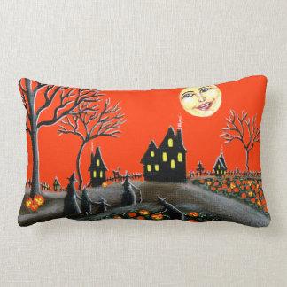 ハロウィンの枕、ジャックOランタン、魔法使い、月、猫 ランバークッション