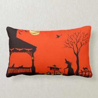 ハロウィンの枕、魔法使い、ハロウィーンのカボチャのちょうちんのこうもり、スカル ランバークッション