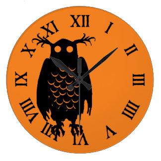 ハロウィンの気味悪いフクロウ ラージ壁時計