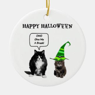 ハロウィンの気難しい猫/かわいい子ネコの円形のオーナメント セラミックオーナメント