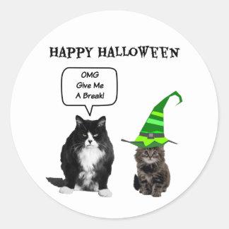 ハロウィンの気難しい猫/かわいい子ネコの円形のステッカー ラウンドシール