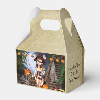 ハロウィンの海賊女の子のカスタムな切り妻の好意箱 フェイバーボックス
