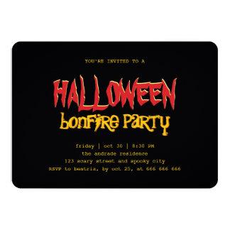 ハロウィンの篝火のパーティの10代のな屋外の黒い黄色 カード