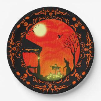 ハロウィンの紙皿、魔法使い、黒猫、スカル ペーパープレート