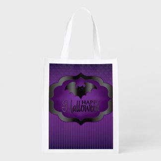ハロウィンの紫色のこうもり エコバッグ