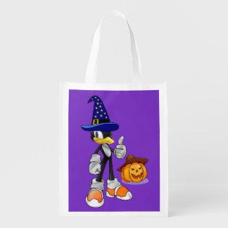 ハロウィンの紫色の再使用可能な御馳走はペンギンを袋に入れます エコバッグ