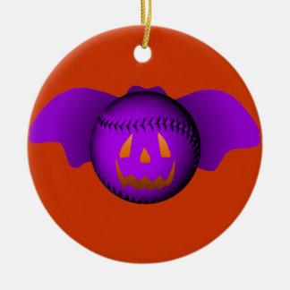 ハロウィンの紫色の野球用バット セラミックオーナメント