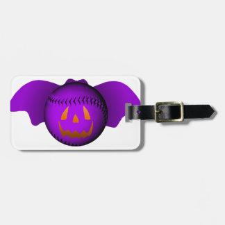 ハロウィンの紫色の野球用バット ラゲッジタグ