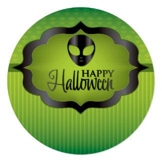 ハロウィンの緑のエイリアン カード
