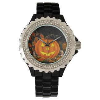 ハロウィンの腕時計、ジャックOランタン、シマリス、秋 腕時計