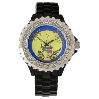 ハロウィンの腕時計、魔法使い、ほうき、月、こうもり 腕時計