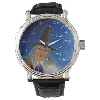 ハロウィンの腕時計、魔法使い、水晶、球、星 腕時計