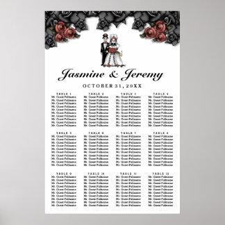 ハロウィンの花嫁の新郎ポスター結婚式の座席の図表 ポスター