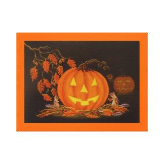 ハロウィンの芸術のプリント、シマリス、秋、ハロウィーンのカボチャのちょうちん キャンバスプリント
