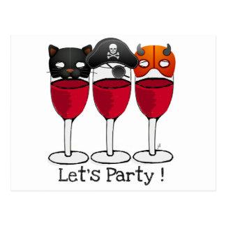 ハロウィンの衣裳のマスクのワイングラスをパーティを楽しもう ポストカード