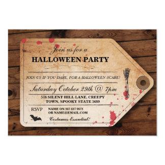 ハロウィンの遺体安置所のつま先のラベルのチケットのおもしろいのパーティの招待 カード