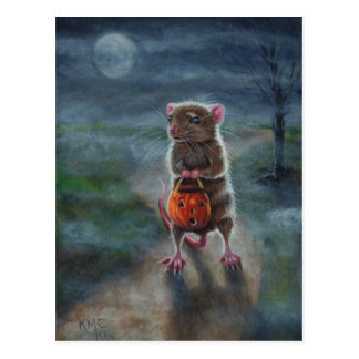 ハロウィンの郵便はがきのラットのカボチャ夜月の霧 ポストカード