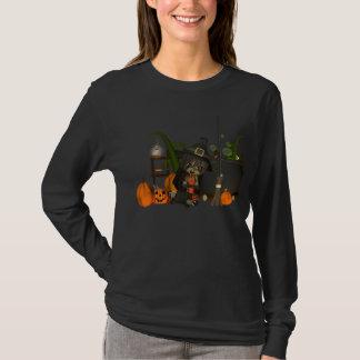 ハロウィンの長いsleveのTシャツのmooniesの魔法使い Tシャツ
