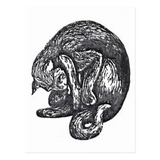 ハロウィンの間素晴らしい黒猫の舐めること ポストカード