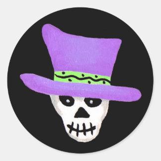 ハロウィンの風変わりな骨組スカルの紫色の帽子 ラウンドシール