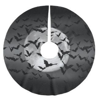 ハロウィンの飛んでいるなこうもりおよび満月 ブラッシュドポリエステルツリースカート