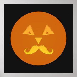 ハロウィンの髭のカボチャポスター ポスター