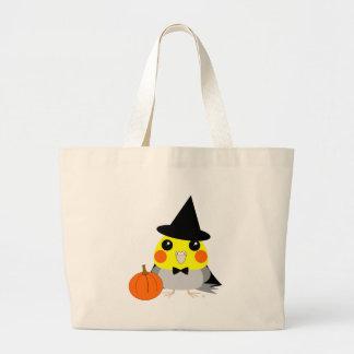 ハロウィンの魔法使いとしてオカメインコのCockatielのオウム ラージトートバッグ