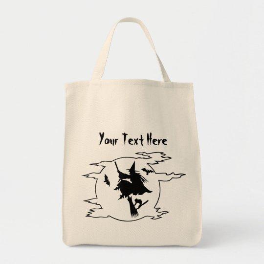 ハロウィンの魔法使いのほうきの柄猫のこうもりのトリック・オア・トリート トートバッグ