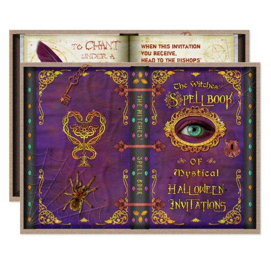 ハロウィンの魔法使いの魔法綴りの本の眼球のくも カード